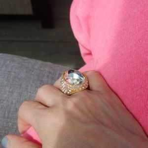 Jewelry - Huge mirrored Gem Bling Cocktail Ring sz 7